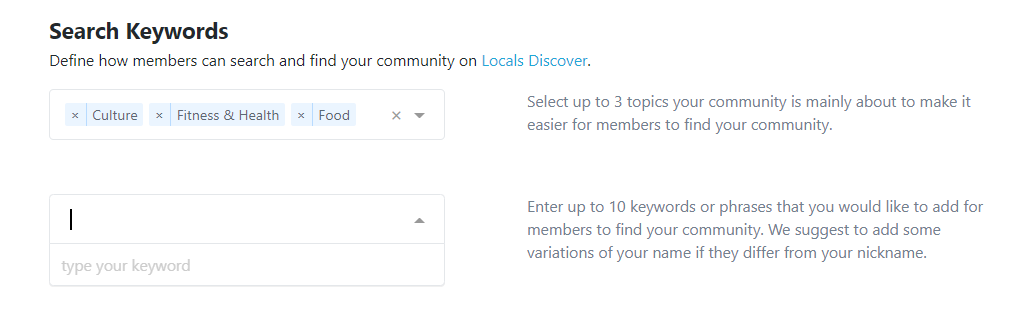 How to add keywords to your Locals community